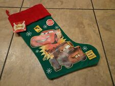 DISNEY'S CARS MOVIE--LIGHTNING MCQUEEN & MATER--GREEN CHRISTMAS STOCKING (NEW)