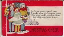 Vintage 1930s Used Card Christmas Cheer Building Children Kids Caroling