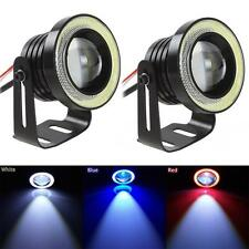 2x Car SUV Angel Eye COB White Halo Ring LED DRL Projector Lens Fog Drive Light