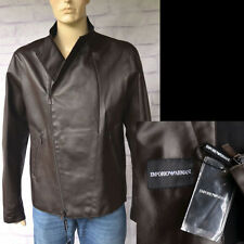 EMPORIO ARMANI New sz 56 46 Mens Designer Leather Biker Coat Jacket Brown $2325