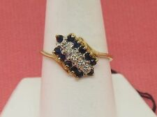 10k Yellow Gold Ring with Blue Sapphires and Diamonds - Size 8.25