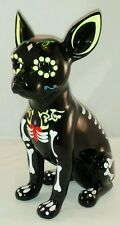 "Day of the Dead Sugar Skull Chihuahua Dog Statue 12"" Tall"