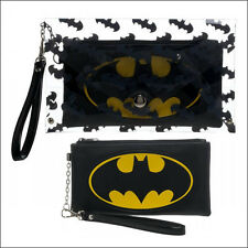 Batman DC Comics Clear Envelope Zip Around Wallet w/ Wristlet Bag Purse LICENSED