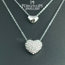 18CT White Gold Plated Double Hearts Necklace W/ Genuine Swarovski Crystals