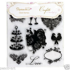 Papermania confetti clear wedding stamps  love birds cupcakes love roses heart