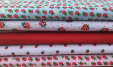 Fat Quarters Bundles Polycotton Fabric Sewing Craft Bunting STRAWBERRY DAIQUIRI