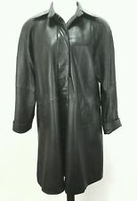 TIBOR Womens Long Black Soft Leather Coat Jacket Trench Lined XL QUALITY