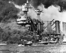 WW2  Photo Pearl Harbor Attack West Virginia Burns WWII