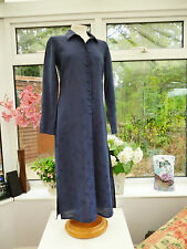 """GORGEOUS """"KALIKO"""" BLUE FLORAL ROSES WITH LINEN FULL LENGTH THIN JACKET Sz 10"""