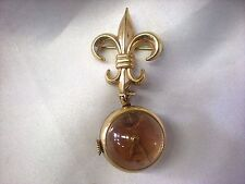 Vintage National Watch Fleur De Lis Brooch Pin Boy Scout Runs