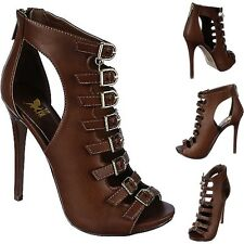 Strappy ankle boot Peep Toe Caged Booties Stiletto High Heel Sandals Pumps H14