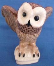VINTAGE HEREDITIES CHARM CREAMWARE TAWNY OWL BIRD PREY FIGURE SIGNED TOM MACKIE