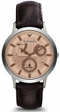 Emporio Armani AR4665 Bronze Dial Leather Strap Automatic Men's Watch