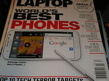LAPTOP magazine ,  feb. 2013   world's best phones  .  samsung's GAL:AXY NOTE II