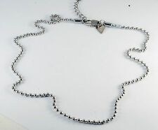 NEW GUESS DESIGNER PLAIN SILVER TONE BEADED CHAIN MEN'S NECKLACE NWOT