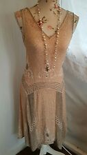 Vtg 1920's style Deco Gatsby nude blush pink beaded flapper wedding dress size 6