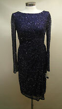 New Patra Long Sleeve Draped Side Waist Sequined Dress 11681 /Violet /8.