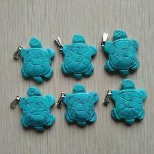 Fashion blue turquoise carved turtle shape charms pendants 6pcs/lot wholesale