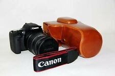 Brown leather case bag for Canon EOS 1200D REBEL T5 Kiss x70 SLR camera (TAN)