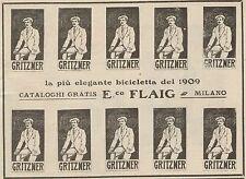 Z1335 GRITZNER - E. Flaig Biciclette marca Milano - Pubblicità d'epoca - 1909 Ad