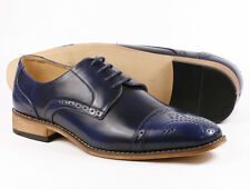 Men's Pre-Owned Blue Perforated Cap Toe Lace Up Oxford Dress Shoes 8 us