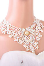 LADIES WHITE VINTAGE LACE CHOKER NECKLACE VICTORIAN COLLAR PEARL