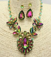 Gold and Iridescent Crystal FASHION Necklace Set
