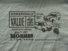 UNBEATABLE VALUE, MORRIS 1/4 ton VANS. MINOR & MINI RETRO ADVERT T SHIRT MDML