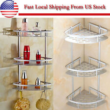 3 Layers Triangular Shower Shelf Bathroom Corner Rack Storage Basket Hanger -US