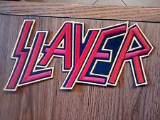 SLAYER,SEW ON RED WITH YELLOW EDGE EMBROIDERED LARGE BACK PATCH
