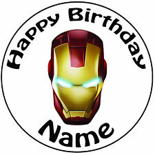 "Personalised Birthday Iron Man Mask Round 8"" Easy Precut Icing Cake Topper"