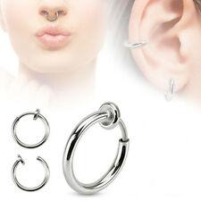 2 Pc 16g Fake Septum Spring Action Rhodium Plated Septum piercing 13mmx13mm