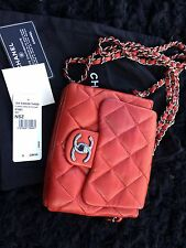 Autentico Chanel 3 Triple FLAP BAG RED PELLE Crossbody