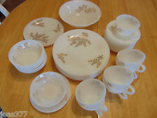Vintage 35 Piece Lot of Federal Glass Gold Bamboo Leaf Golden Glory Dinnerware