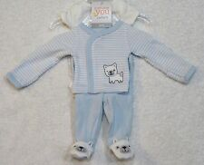 Just One You By Carter's Preemie Baby Boy 3 Piece Set Blue & White Stripes Puppy