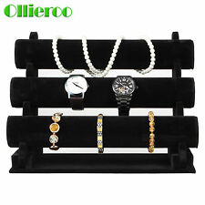 Olliero Black Velvet Jewelry Bracelet Display Rack Watch Holder Organizer New