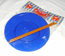 NEW SPINNING PLATE AND STICK FUN RETRO CIRCUS JUGGLING TOY TOBAR BLUE