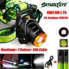 5000LM CREE XM-L T6 LED Headlamp Head Light + 2x Rechargeable USB Battery lot