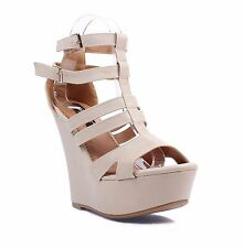 3 Color Platforms Wedges Strappy Shaft Zipper Faux Leather Sexy Women High Heels
