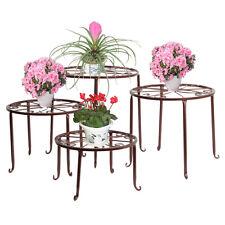 4pcs Pot Plant Stand Flower Rack Wrought Iron Brown Floor-Standing Indoor Garden
