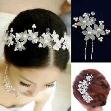 1 Hairpin Flowers Beads Wedding Strass Tiara Diadem WHITE Bridal