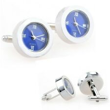 Blue Functional Clock Watch Cufflinks + Free Box & Cleaner