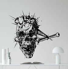 Smashed Skull Baseball Bat Wall Decal Horror Vinyl Sticker Art Decor Mural 40thn