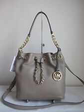 MICHAEL MICHAEL KORS Dark Taupe FRANKIE MD DRAWSTRING MESSENGER Bag Handbag