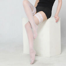 Suspender Belt and Stockings Wide lace silky Black White Red FREE POSTAGE