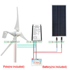 Daily 1.4KW Hybrid Kit: 400W DC Wind Turbine Generator & 100W PV Solar Panel