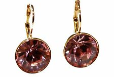 Swarovski Elements Pink Bella Earrings Gold Plated Dangle Earrings Leverback