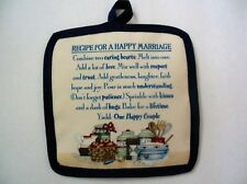 "1 NEW  Handcrafted Potholder - ""RECIPE FOR A HAPPY MARRIAGE"",  6.5""x6.5"""
