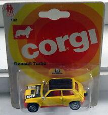 "DTE 1981 CARD METTOY CORGI JR NO. 102 YELLOW/RED ""ELF"" RENAULT TURBO NIOP"