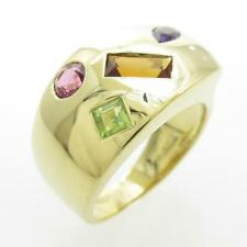 Authentic 750 Yellow Gold Color Stones ring  #260-001-679-7918
